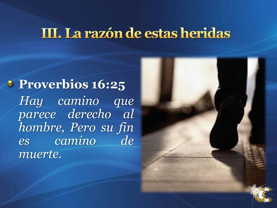 Proverbios 16:25 Hay camino que parece derecho al hombre, Pero su fin es camino de muerte. Hay camino que parece derecho al hombre, Pero su fin es cam
