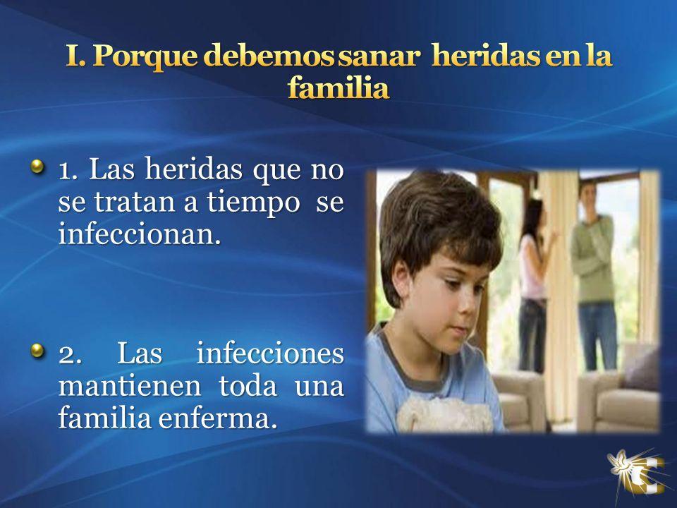 1. Las heridas que no se tratan a tiempo se infeccionan. 2. Las infecciones mantienen toda una familia enferma.