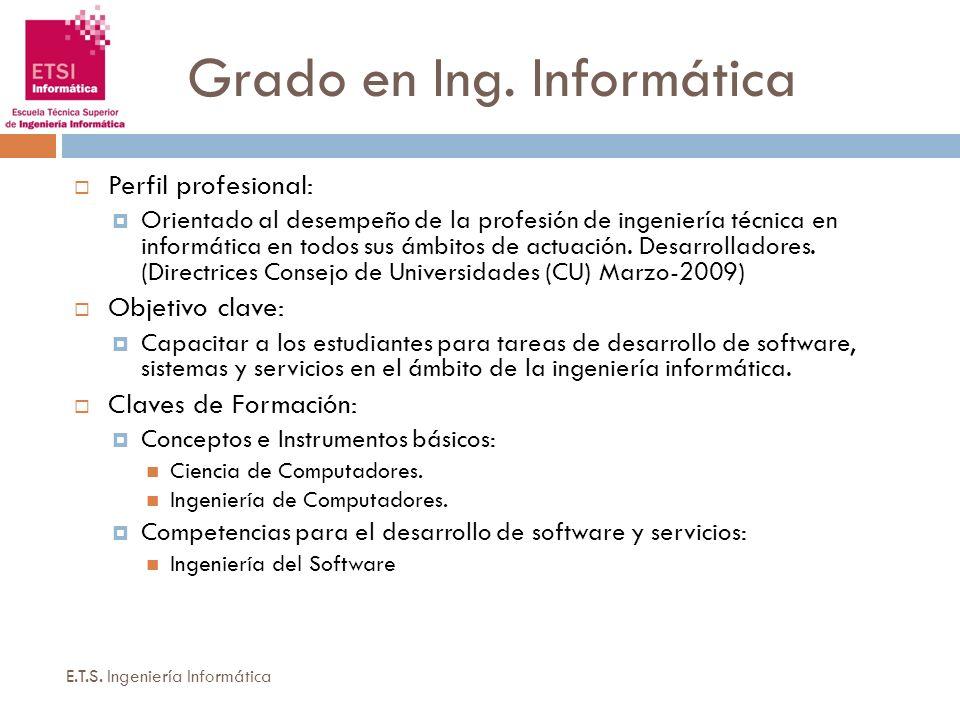 Grado en Ing. Informática E.T.S. Ingeniería Informática Perfil profesional: Orientado al desempeño de la profesión de ingeniería técnica en informátic