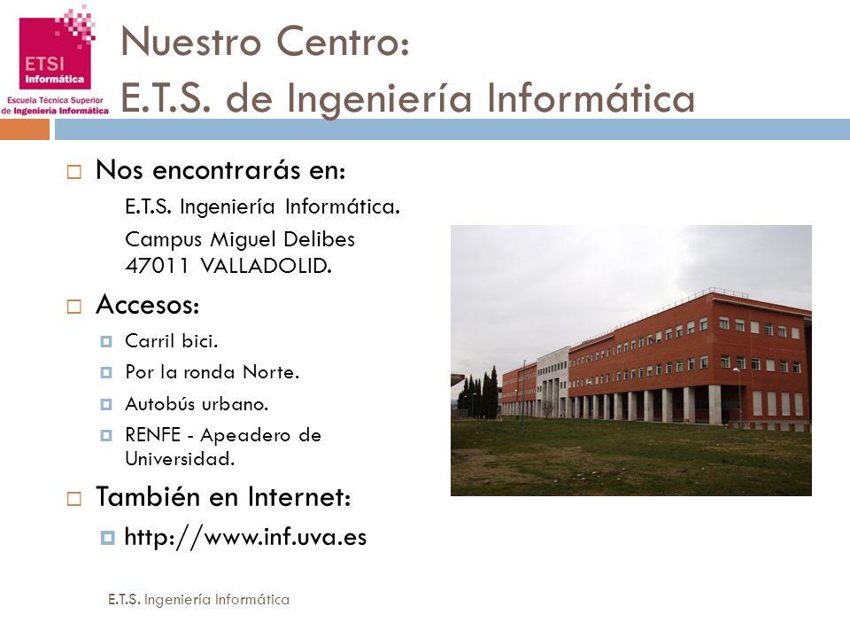 Nuestro Centro: E.T.S. de Ingeniería Informática Nos encontrarás en: E.T.S. Ingeniería Informática. Campus Miguel Delibes 47011 VALLADOLID. Accesos: C