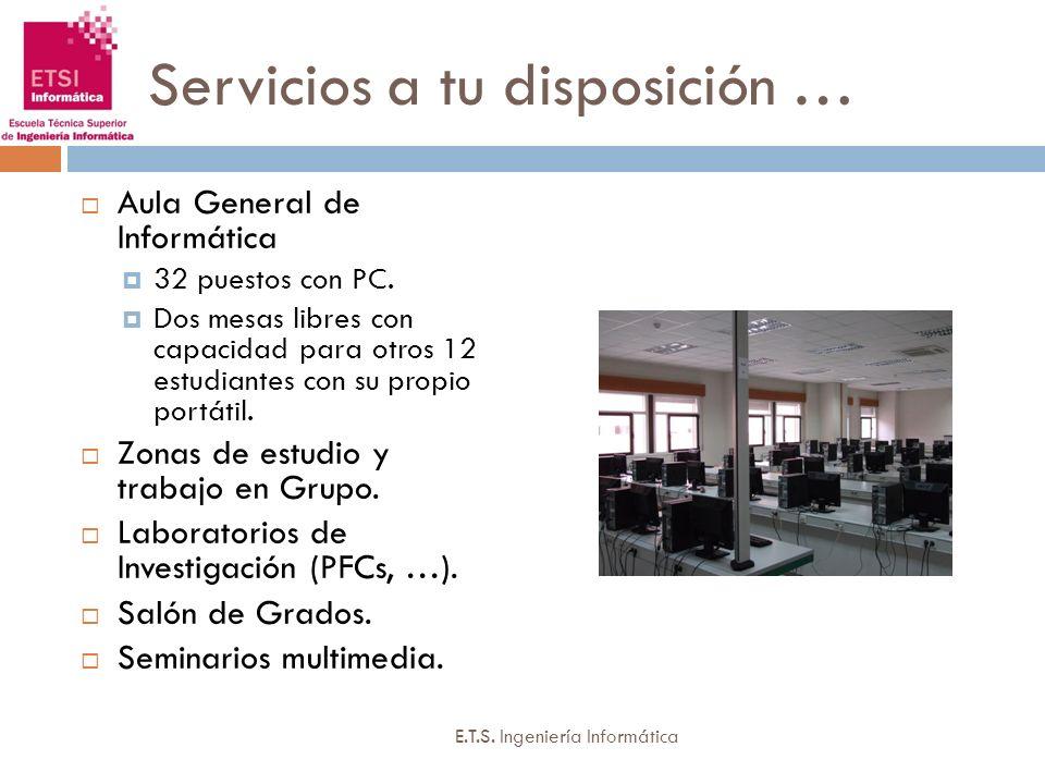 Servicios a tu disposición … Aula General de Informática 32 puestos con PC. Dos mesas libres con capacidad para otros 12 estudiantes con su propio por