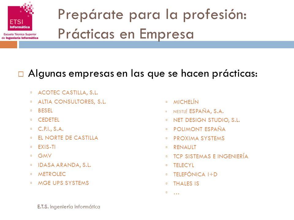 Prepárate para la profesión: Prácticas en Empresa Algunas empresas en las que se hacen prácticas: ACOTEC CASTILLA, S.L. ALTIA CONSULTORES, S.L. BESEL