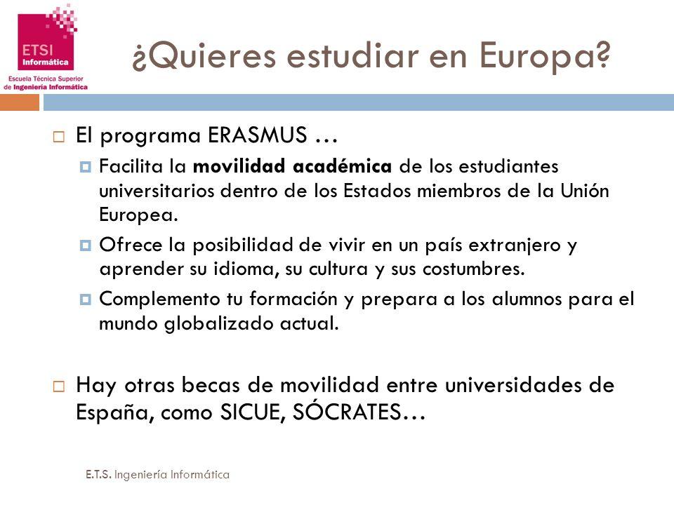 ¿Quieres estudiar en Europa? El programa ERASMUS … Facilita la movilidad académica de los estudiantes universitarios dentro de los Estados miembros de