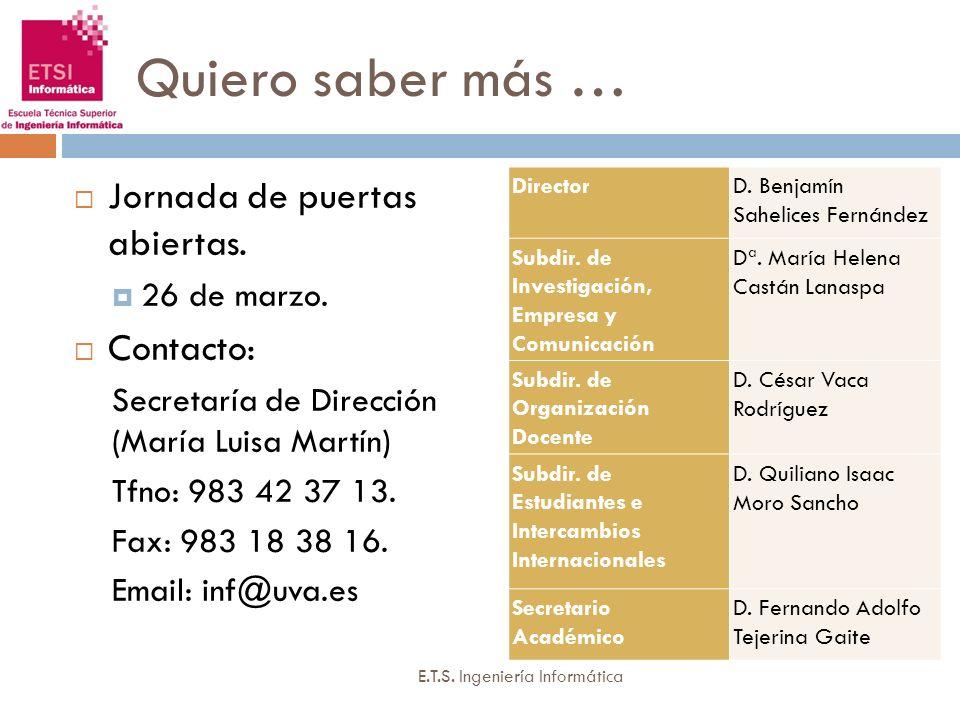 Quiero saber más … Jornada de puertas abiertas. 26 de marzo. Contacto: Secretaría de Dirección (María Luisa Martín) Tfno: 983 42 37 13. Fax: 983 18 38