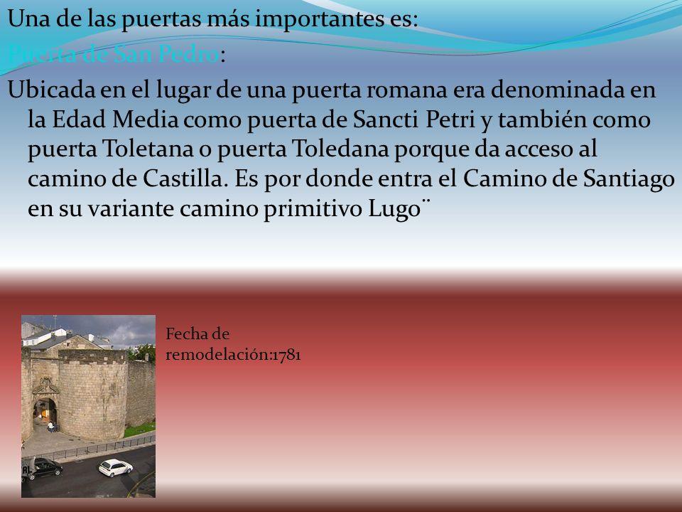 Una de las puertas más importantes es: Puerta de San Pedro: Ubicada en el lugar de una puerta romana era denominada en la Edad Media como puerta de Sa