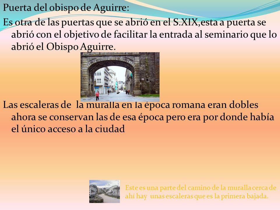 Puerta del obispo de Aguirre: Es otra de las puertas que se abrió en el S.XIX,esta a puerta se abrió con el objetivo de facilitar la entrada al semina