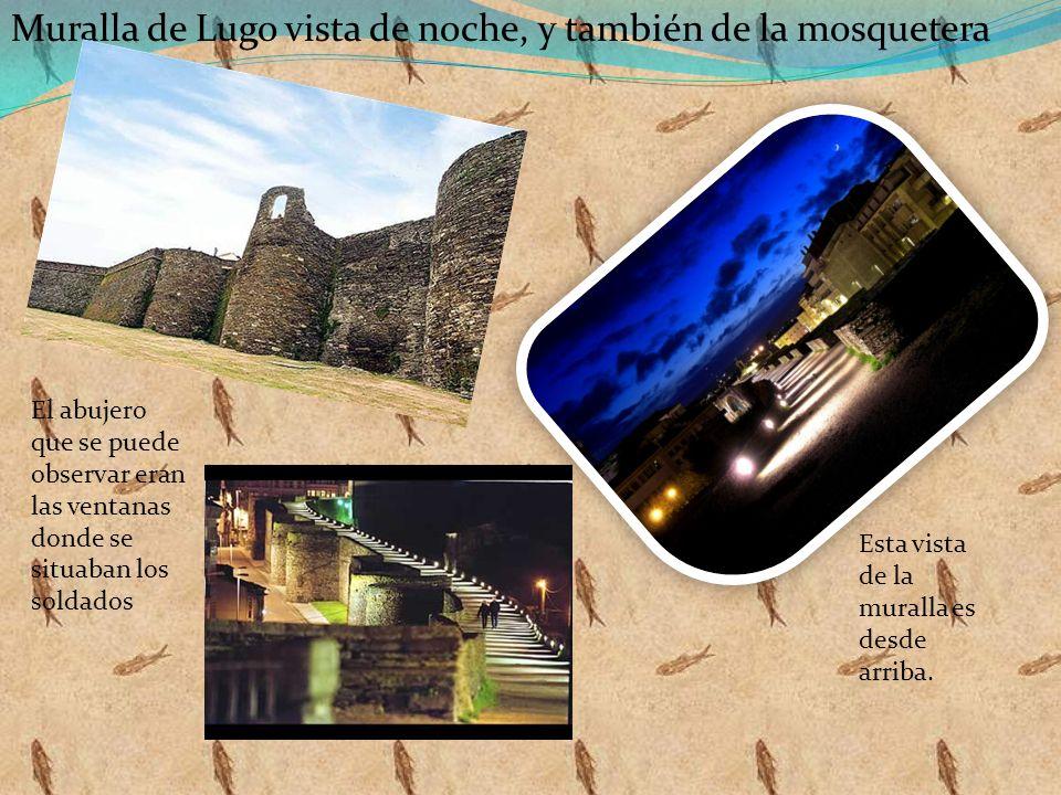 Muralla de Lugo vista de noche, y también de la mosquetera Esta vista de la muralla es desde arriba. El abujero que se puede observar eran las ventana
