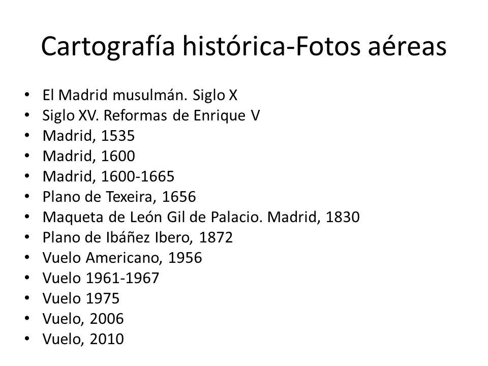 Cartografía histórica-Fotos aéreas El Madrid musulmán. Siglo X Siglo XV. Reformas de Enrique V Madrid, 1535 Madrid, 1600 Madrid, 1600-1665 Plano de Te