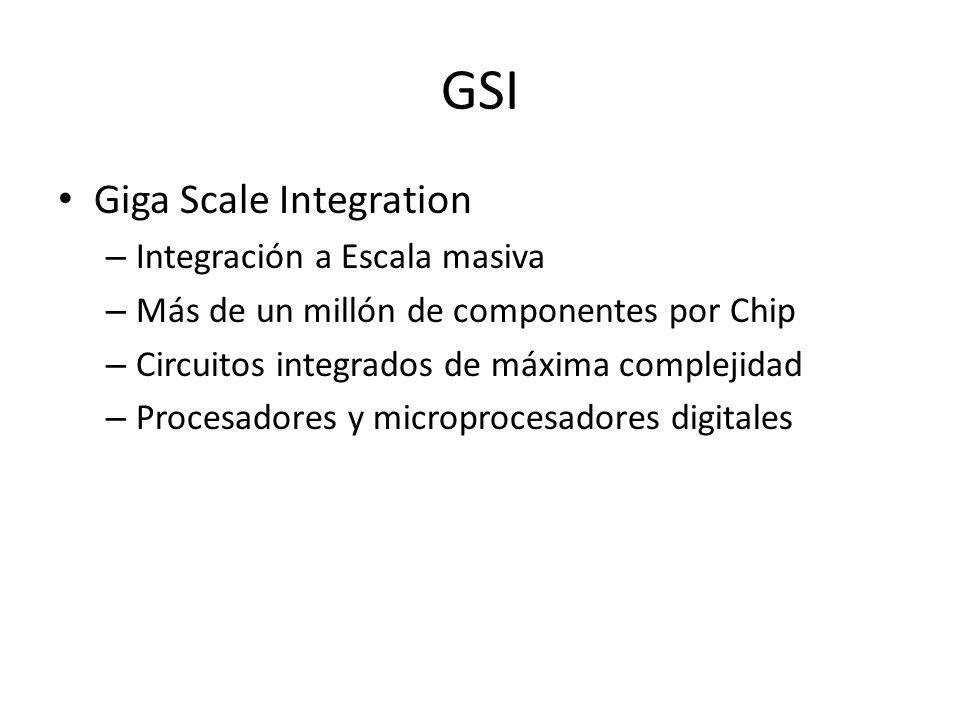 GSI Giga Scale Integration – Integración a Escala masiva – Más de un millón de componentes por Chip – Circuitos integrados de máxima complejidad – Pro