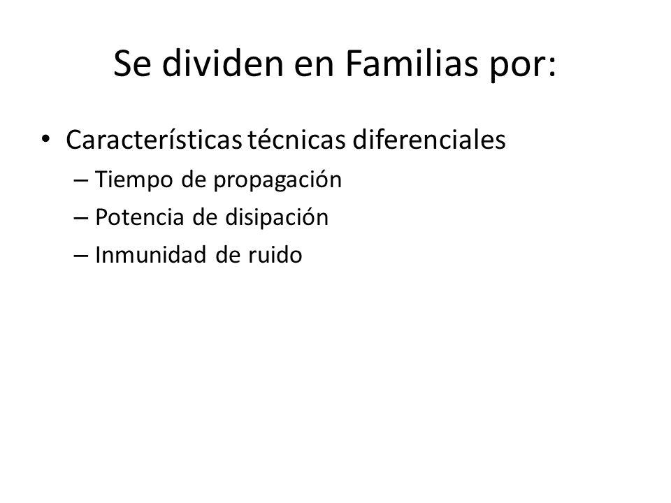 Se dividen en Familias por: Características técnicas diferenciales – Tiempo de propagación – Potencia de disipación – Inmunidad de ruido