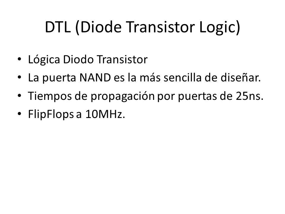 DTL (Diode Transistor Logic) Lógica Diodo Transistor La puerta NAND es la más sencilla de diseñar. Tiempos de propagación por puertas de 25ns. FlipFlo