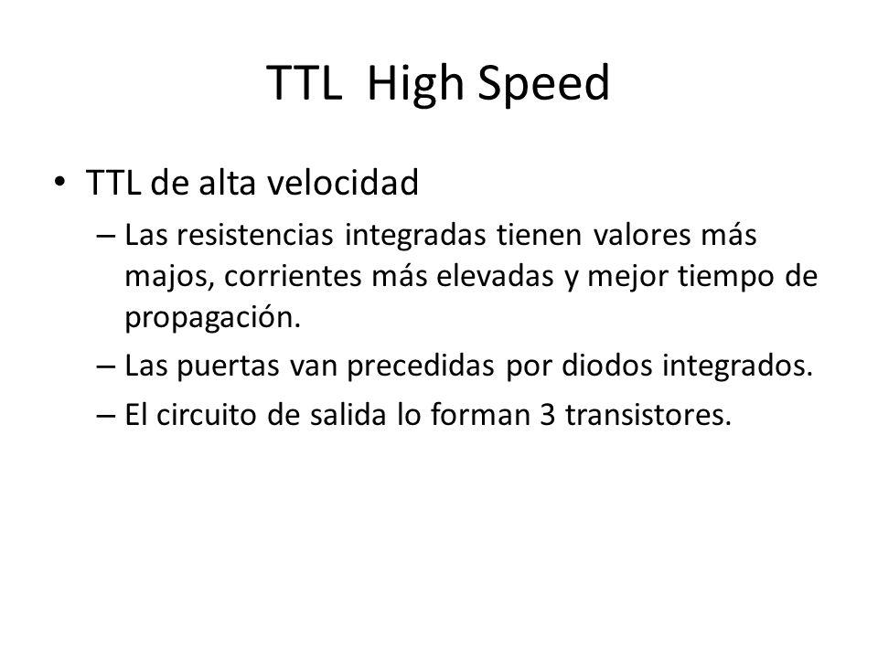 TTL High Speed TTL de alta velocidad – Las resistencias integradas tienen valores más majos, corrientes más elevadas y mejor tiempo de propagación. –