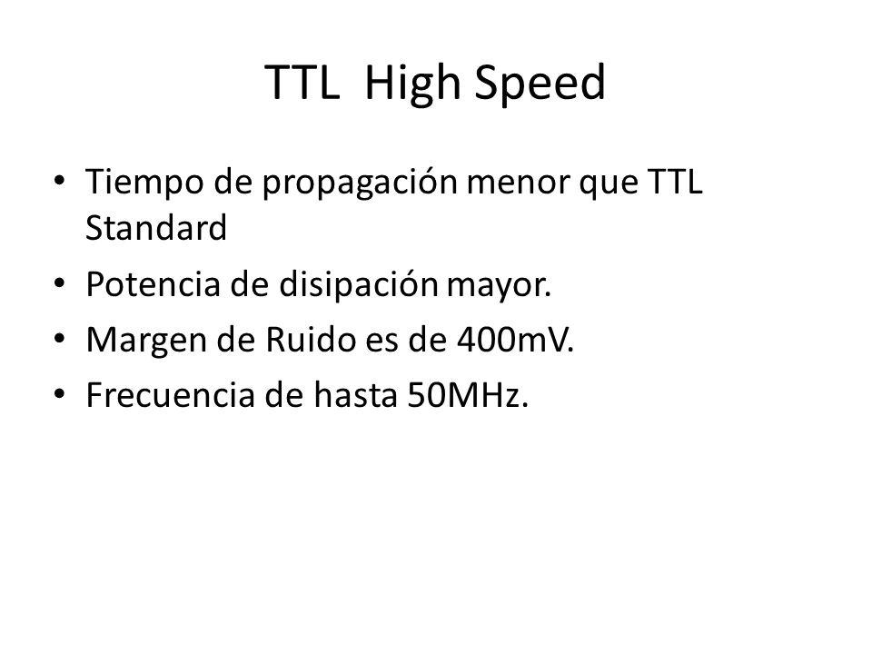 TTL High Speed Tiempo de propagación menor que TTL Standard Potencia de disipación mayor. Margen de Ruido es de 400mV. Frecuencia de hasta 50MHz.