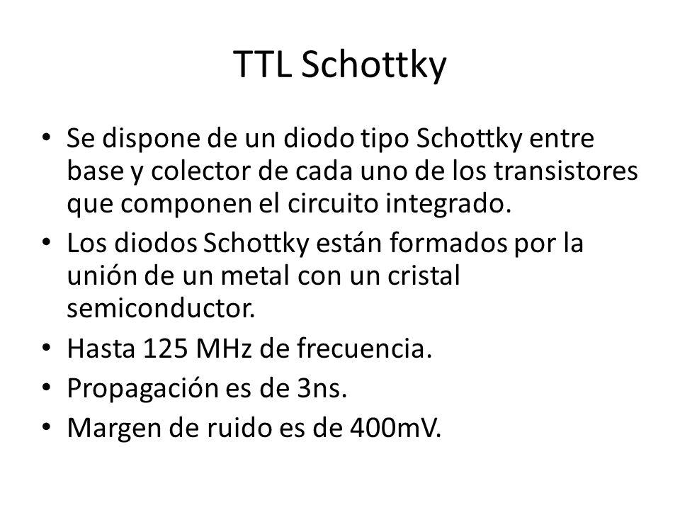 TTL Schottky Se dispone de un diodo tipo Schottky entre base y colector de cada uno de los transistores que componen el circuito integrado. Los diodos