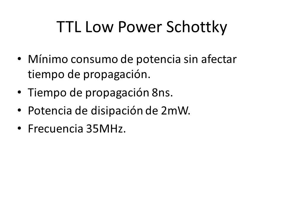 TTL Low Power Schottky Mínimo consumo de potencia sin afectar tiempo de propagación. Tiempo de propagación 8ns. Potencia de disipación de 2mW. Frecuen