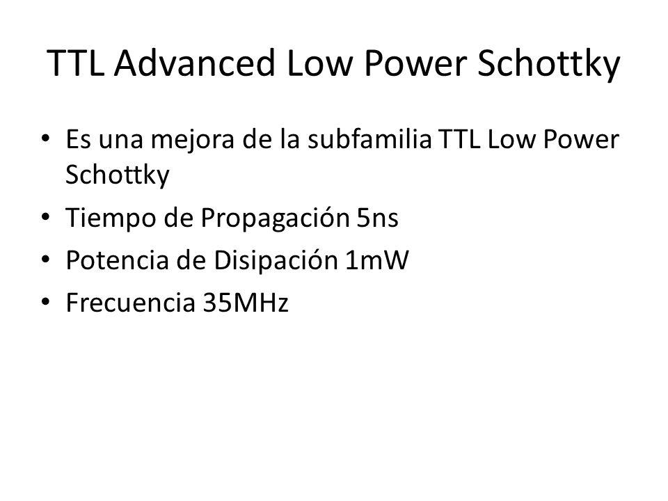 TTL Advanced Low Power Schottky Es una mejora de la subfamilia TTL Low Power Schottky Tiempo de Propagación 5ns Potencia de Disipación 1mW Frecuencia
