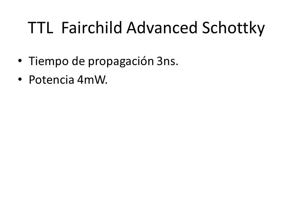TTL Fairchild Advanced Schottky Tiempo de propagación 3ns. Potencia 4mW.