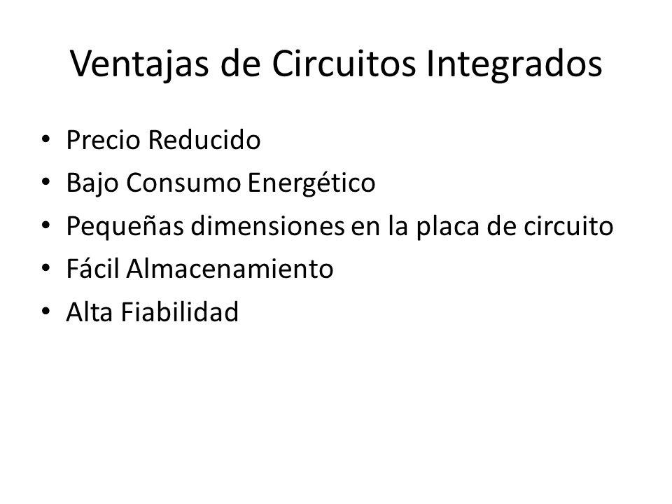 Ventajas de Circuitos Integrados Precio Reducido Bajo Consumo Energético Pequeñas dimensiones en la placa de circuito Fácil Almacenamiento Alta Fiabil