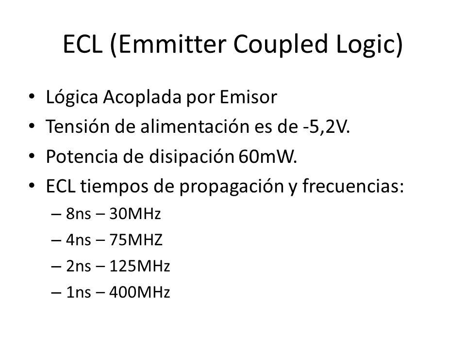 ECL (Emmitter Coupled Logic) Lógica Acoplada por Emisor Tensión de alimentación es de -5,2V. Potencia de disipación 60mW. ECL tiempos de propagación y