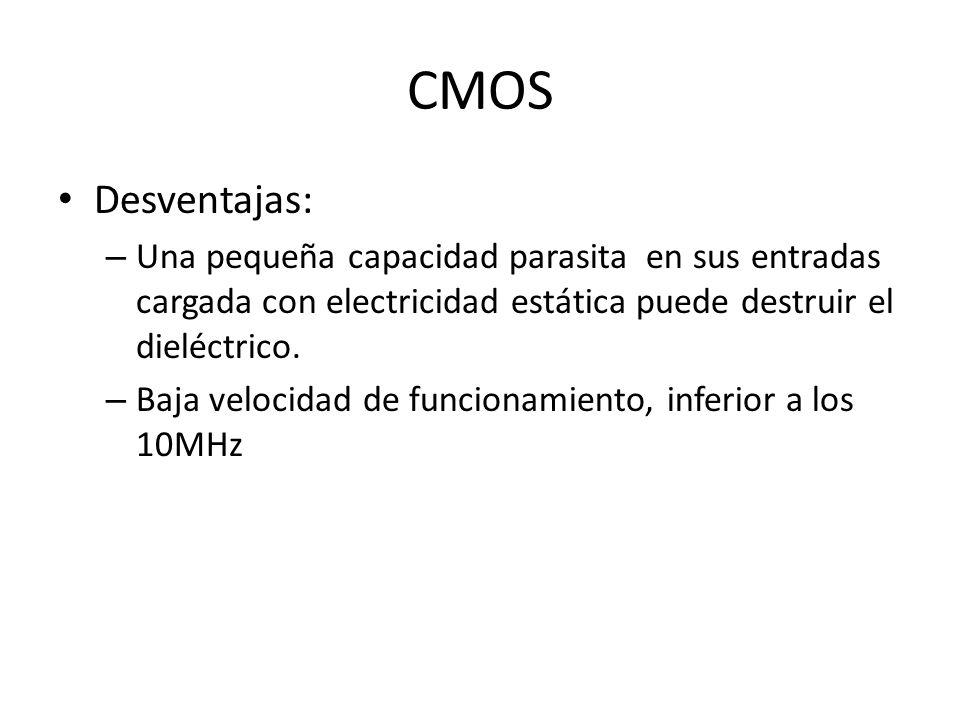 CMOS Desventajas: – Una pequeña capacidad parasita en sus entradas cargada con electricidad estática puede destruir el dieléctrico. – Baja velocidad d