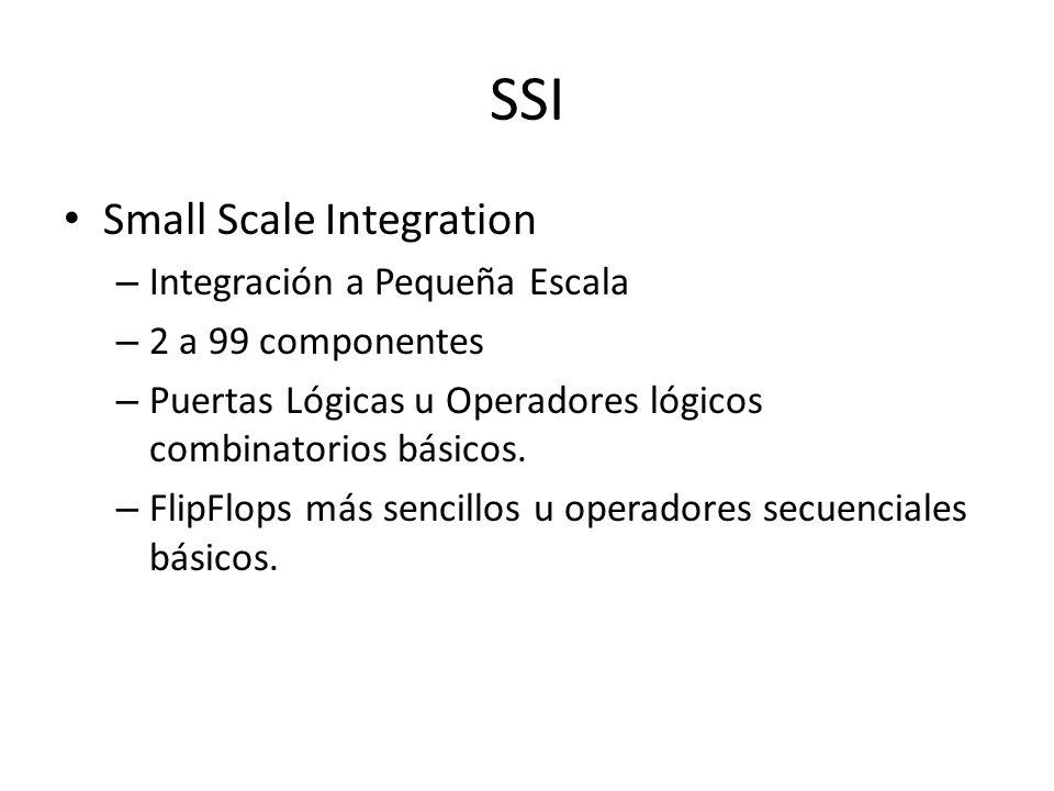 SSI Small Scale Integration – Integración a Pequeña Escala – 2 a 99 componentes – Puertas Lógicas u Operadores lógicos combinatorios básicos. – FlipFl