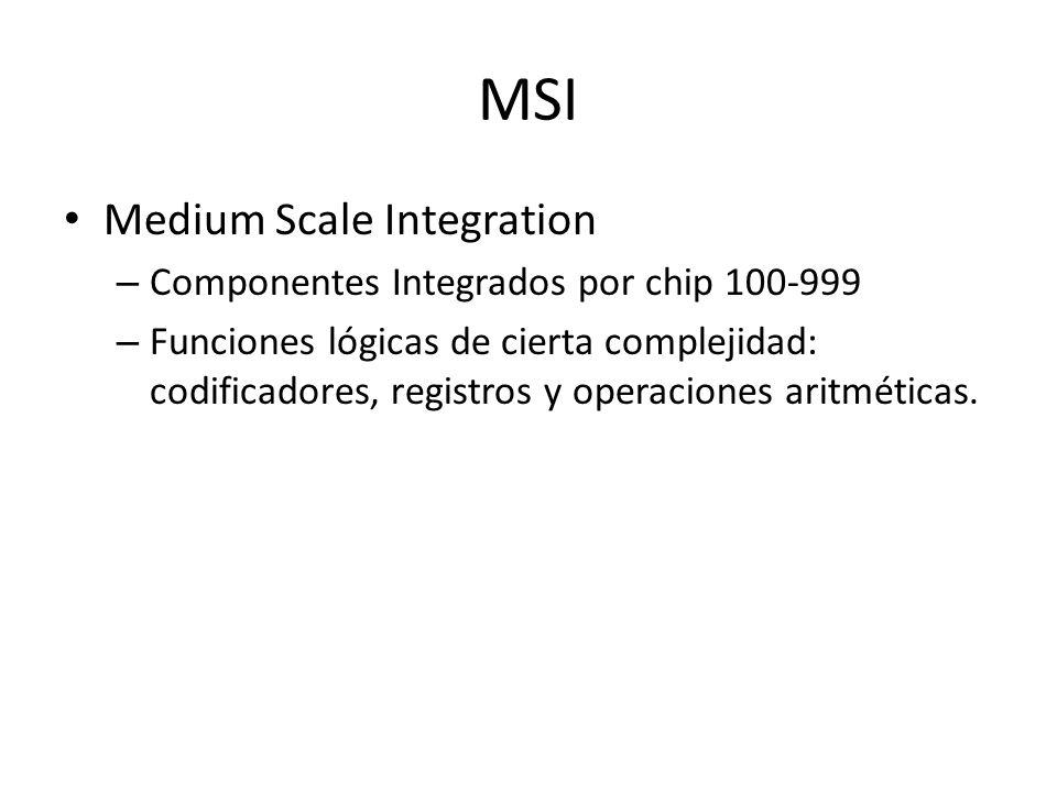 MSI Medium Scale Integration – Componentes Integrados por chip 100-999 – Funciones lógicas de cierta complejidad: codificadores, registros y operacion