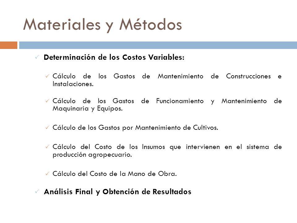 Materiales y Métodos El estudio se basa en los siguientes aspectos: Determinación de los Costos Fijos: Cálculo del Costo de Reposición de la Inversión
