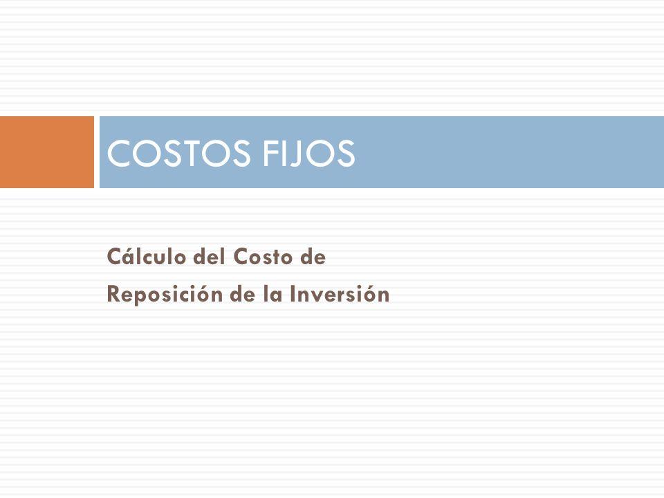 Cálculo del Costo de Reposición de la Inversión COSTOS FIJOS