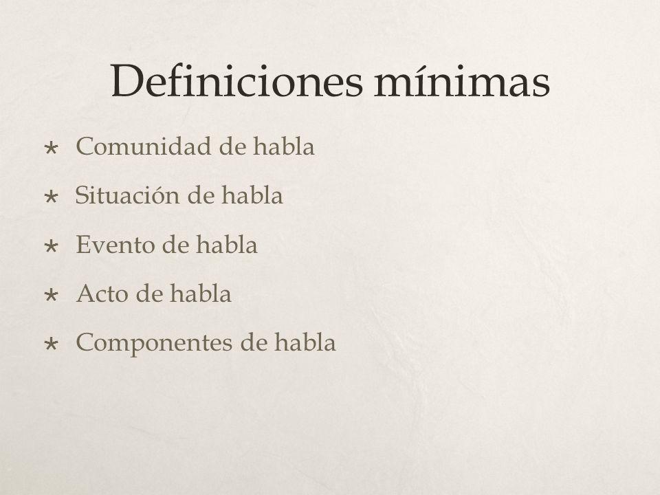 Definiciones mínimas Comunidad de habla Situación de habla Evento de habla Acto de habla Componentes de habla