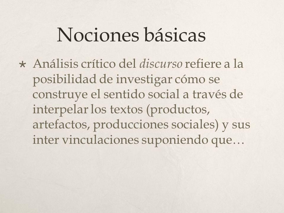 Nociones básicas Análisis crítico del discurso refiere a la posibilidad de investigar cómo se construye el sentido social a través de interpelar los t