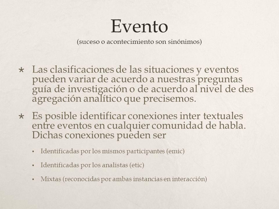 Evento (suceso o acontecimiento son sinónimos) Las clasificaciones de las situaciones y eventos pueden variar de acuerdo a nuestras preguntas guía de