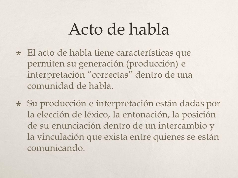 Acto de habla El acto de habla tiene características que permiten su generación (producción) e interpretación correctas dentro de una comunidad de hab