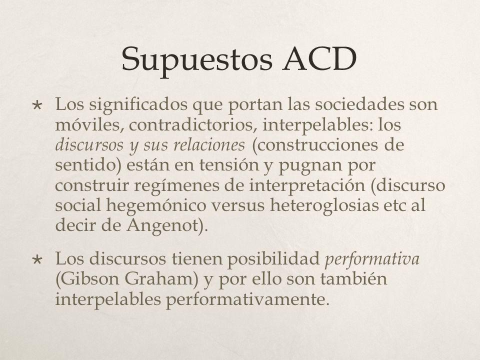 Supuestos ACD Los significados que portan las sociedades son móviles, contradictorios, interpelables: los discursos y sus relaciones (construcciones d