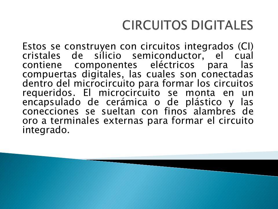 Estos se construyen con circuitos integrados (CI) cristales de silicio semiconductor, el cual contiene componentes eléctricos para las compuertas digi