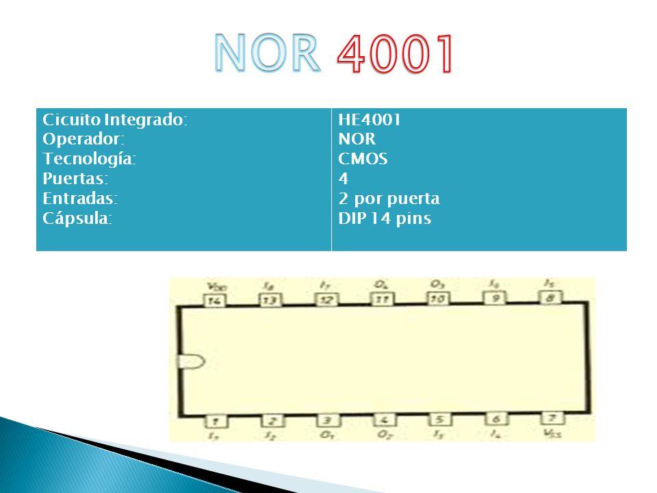 Cicuito Integrado: Operador: Tecnología: Puertas: Entradas: Cápsula: HE4001 NOR CMOS 4 2 por puerta DIP 14 pins