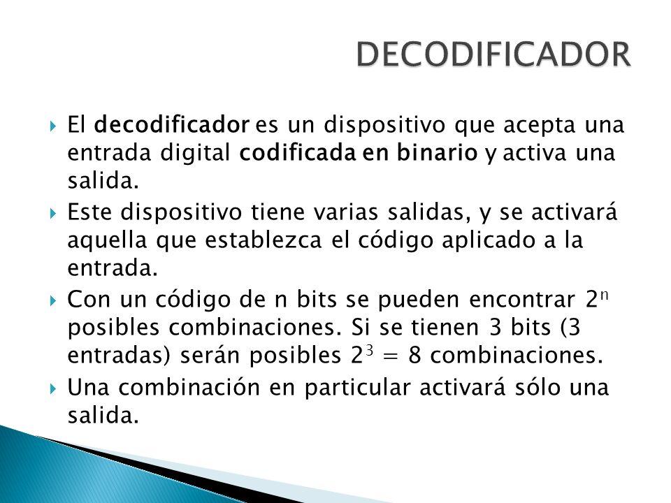 El decodificador es un dispositivo que acepta una entrada digital codificada en binario y activa una salida. Este dispositivo tiene varias salidas, y