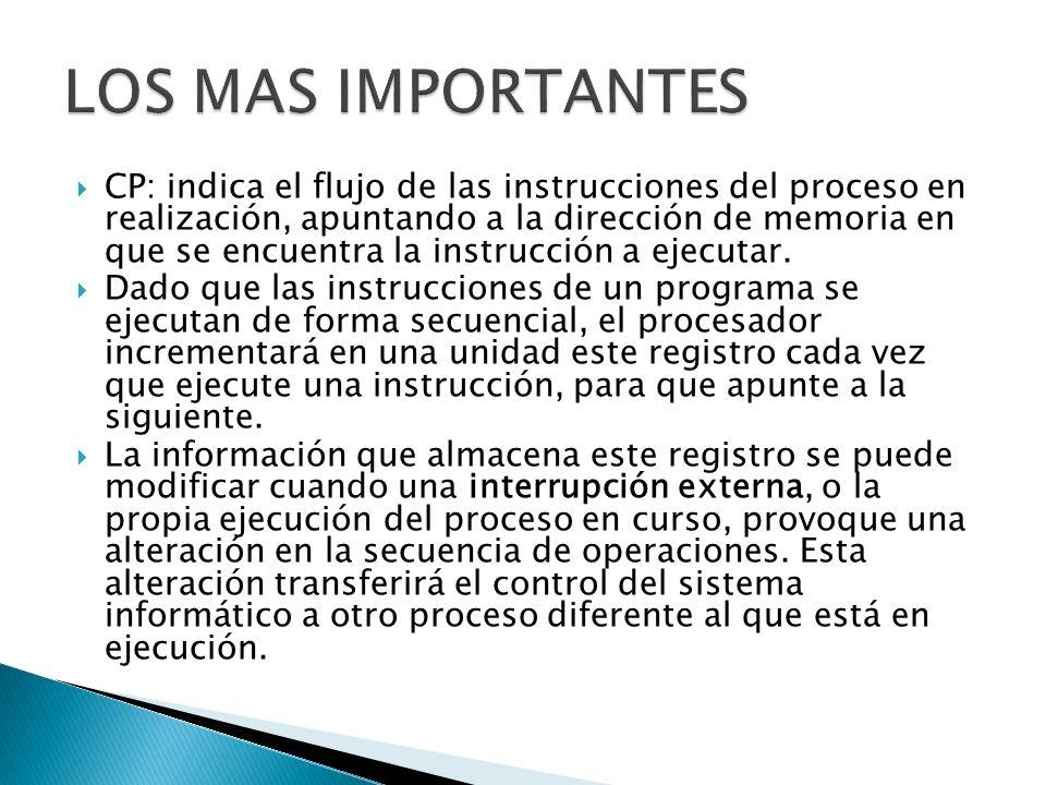 CP: indica el flujo de las instrucciones del proceso en realización, apuntando a la dirección de memoria en que se encuentra la instrucción a ejecutar
