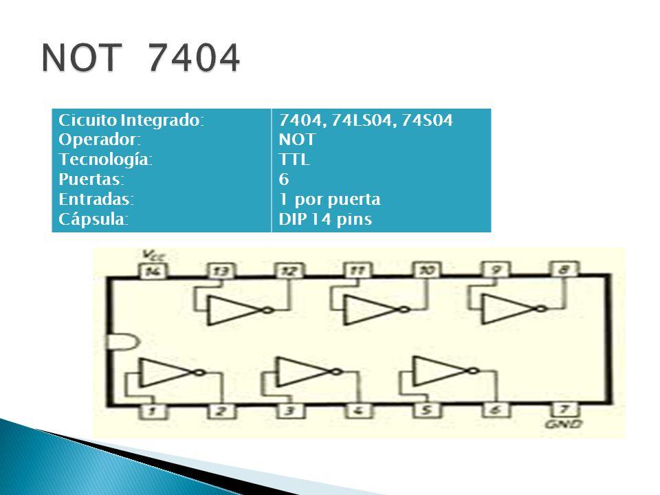 Cicuito Integrado: Operador: Tecnología: Puertas: Entradas: Cápsula: 7404, 74LS04, 74S04 NOT TTL 6 1 por puerta DIP 14 pins