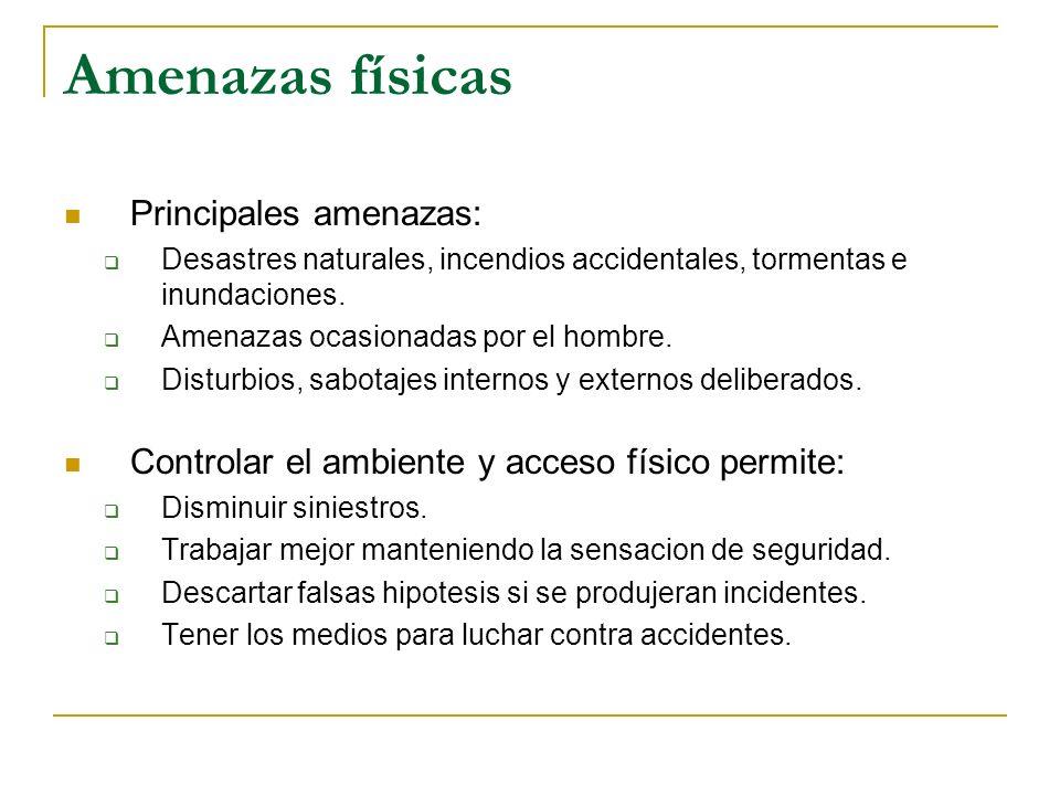 Amenazas físicas Principales amenazas: Desastres naturales, incendios accidentales, tormentas e inundaciones. Amenazas ocasionadas por el hombre. Dist