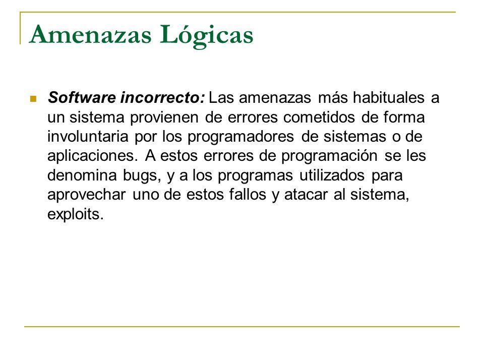 Amenazas Lógicas Software incorrecto: Las amenazas más habituales a un sistema provienen de errores cometidos de forma involuntaria por los programado