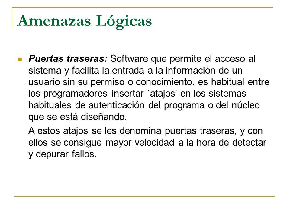 Amenazas Lógicas Puertas traseras: Software que permite el acceso al sistema y facilita la entrada a la información de un usuario sin su permiso o con