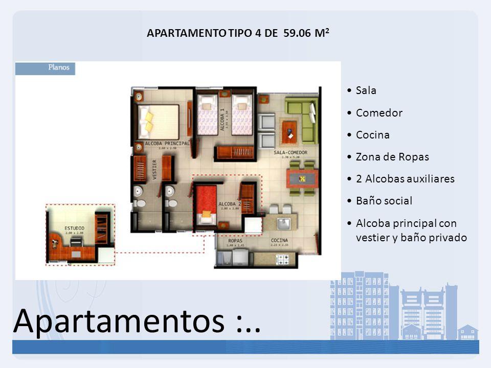 Apartamentos :.. APARTAMENTO TIPO 4 DE 59.06 M 2 Sala Comedor Cocina Zona de Ropas 2 Alcobas auxiliares Baño social Alcoba principal con vestier y bañ