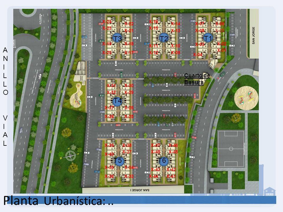 Planta Urbanística:.. T1 T2T3 T4 T5T6 X-03 X-02 X-01 X-04 X-05 X-06X-14 X-13 X-10 X-09 X-07 X-08 X-12 X-11 X-15 X-16 X-17 X-18 X-21 X-22 X-19 X-20 X-2