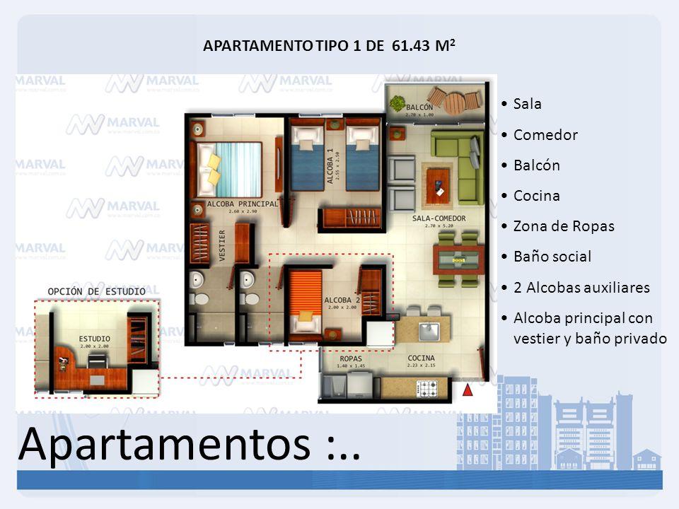 Apartamentos :.. APARTAMENTO TIPO 1 DE 61.43 M 2 Sala Comedor Balcón Cocina Zona de Ropas Baño social 2 Alcobas auxiliares Alcoba principal con vestie