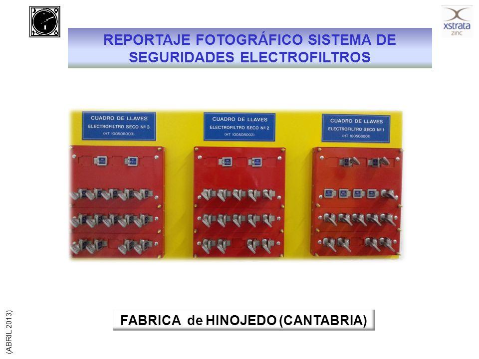 SEGURIDADES EN PUERTAS DE ACCESO A ELECTROFILTROS SECOS Cabinas conexión cables de alimentación Puertas de entrada a campos y tolva de vaciado