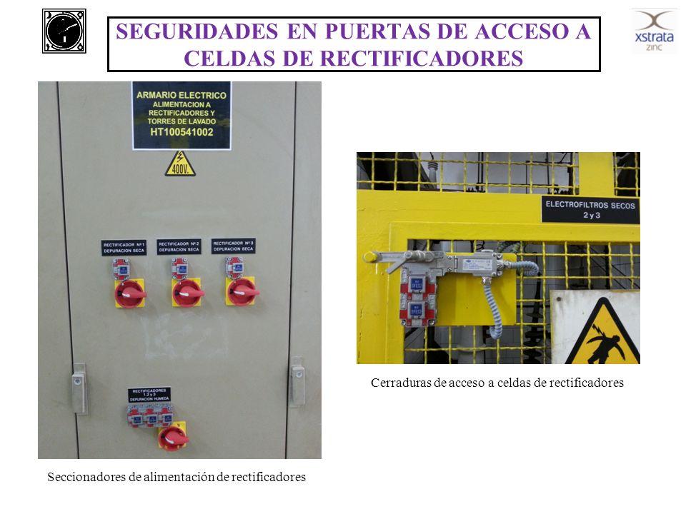SEGURIDADES EN PUERTAS DE ACCESO A CELDAS DE RECTIFICADORES Cerraduras de acceso a celdas de rectificadores Seccionadores de alimentación de rectifica