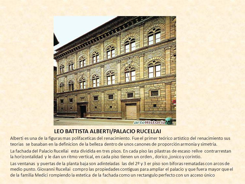LEO BATTISTA ALBERTI/PALACIO RUCELLAI Alberti es una de la figuras mas polifaceticas del renacimiento. Fue el primer teórico artístico del renacimient
