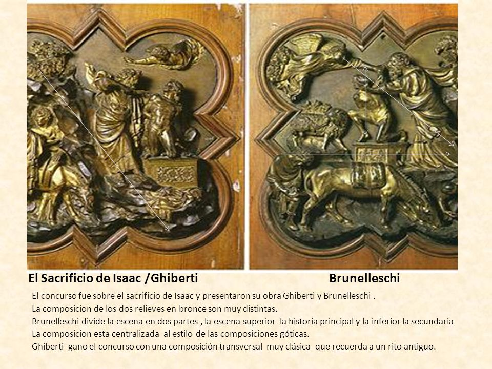 El Sacrificio de Isaac /Ghiberti Brunelleschi El concurso fue sobre el sacrificio de Isaac y presentaron su obra Ghiberti y Brunelleschi. La composici