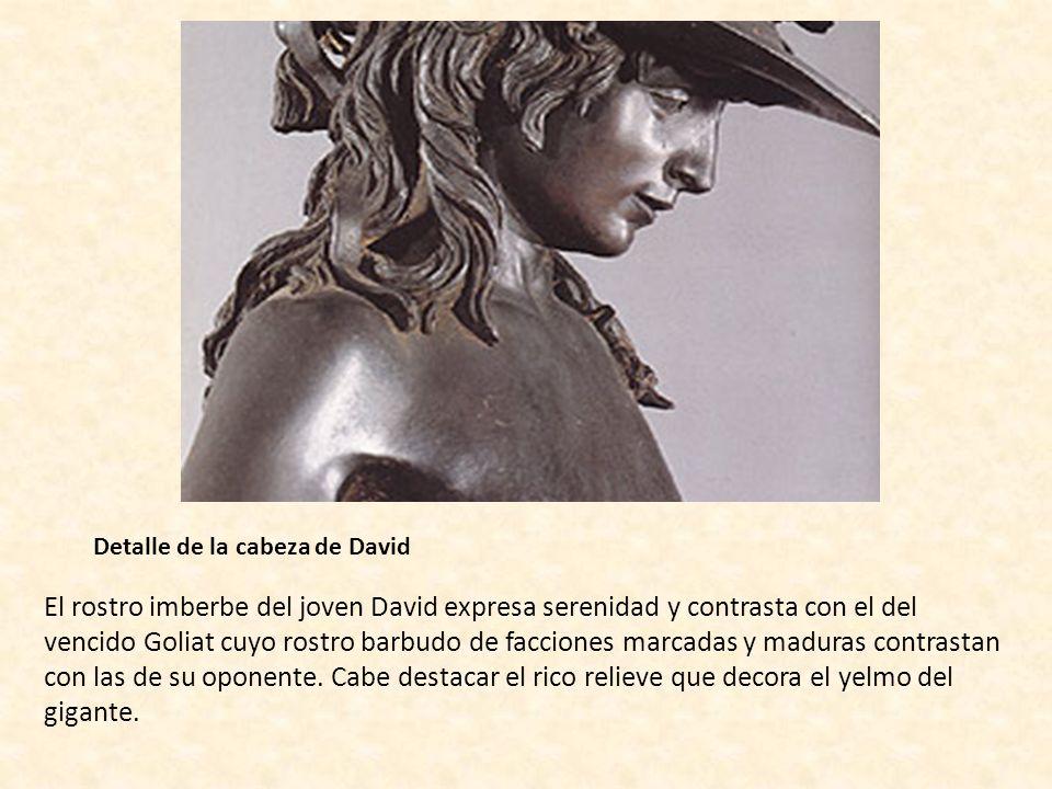 Detalle de la cabeza de David El rostro imberbe del joven David expresa serenidad y contrasta con el del vencido Goliat cuyo rostro barbudo de faccion