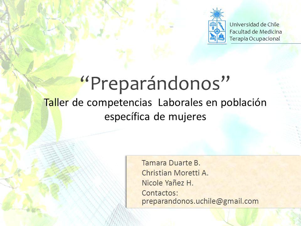 Universidad de Chile Facultad de Medicina Terapia Ocupacional Preparándonos Taller de competencias Laborales en población específica de mujeres Tamara Duarte B.